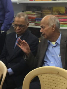 N.R Narayana Murthy with a friend.